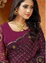 Embroidered Purple Contemporary Saree