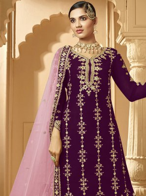 Embroidered Purple Designer Palazzo Suit