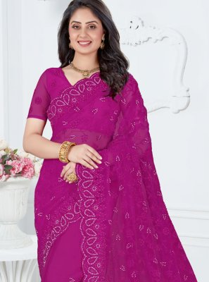 Embroidered Purple Designer Saree