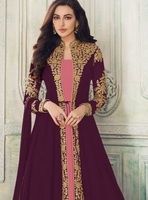 Embroidered Purple Salwar Suit