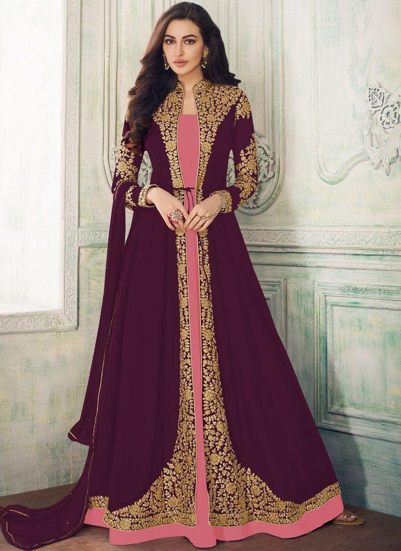 Embroidered Purple Salwar Suit