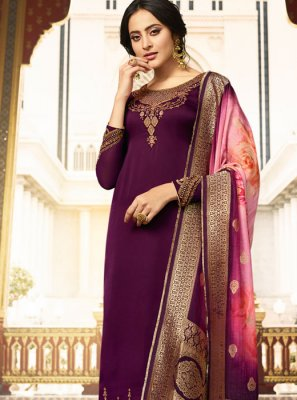 Embroidered Purple Silk Designer Salwar Kameez