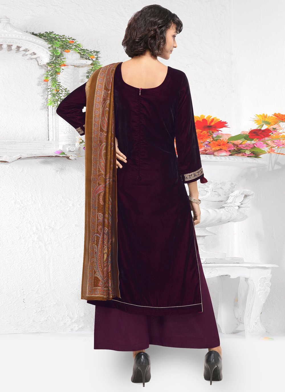 Embroidered Purple Velvet Palazzo Suit