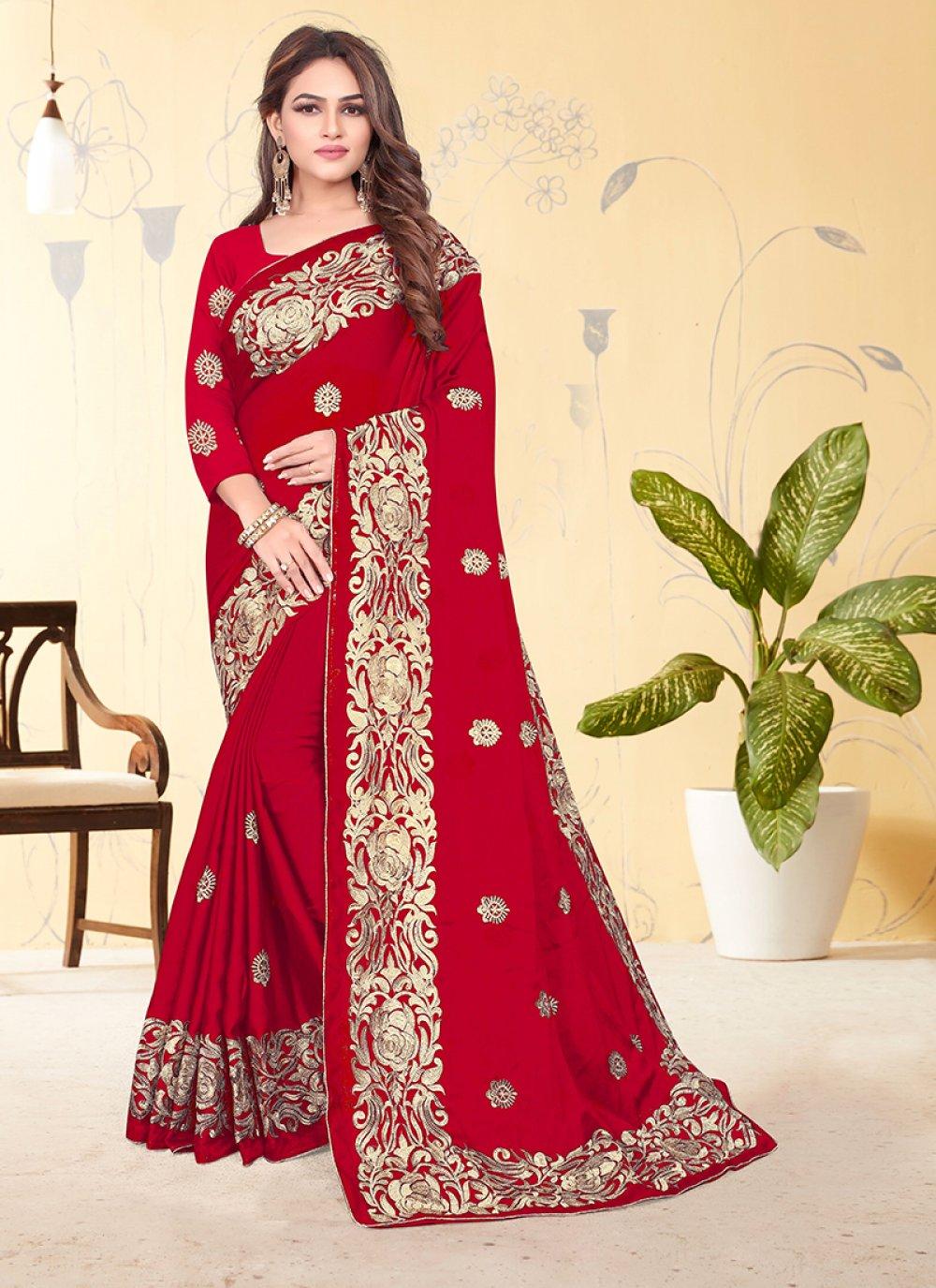 Embroidered Rangoli Designer Saree in Red
