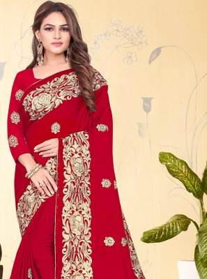 Embroidered Rangoli Designer Saree in Red