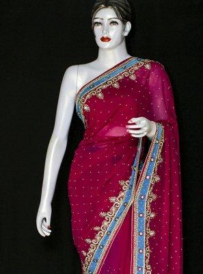 Embroidered Rani Designer Saree