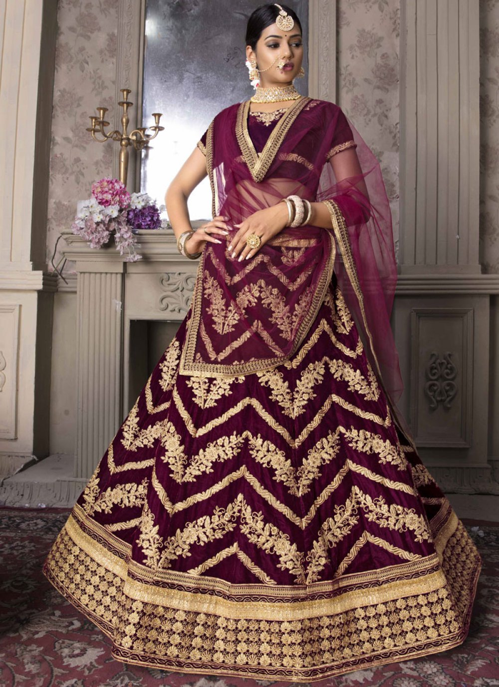 Embroidered Rani Lehenga Choli