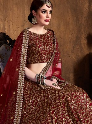 Embroidered Raw Silk Lehenga Choli