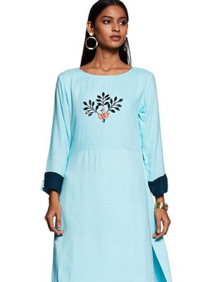 Embroidered Rayon Aqua Blue Party Wear Kurti