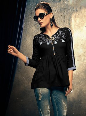 Embroidered Rayon Blue Casual Kurti