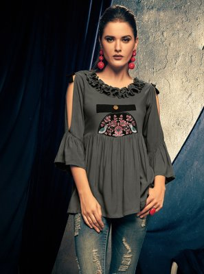 Embroidered Rayon Casual Kurti