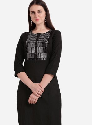 Embroidered Rayon Casual Kurti in Black