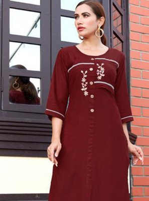 Embroidered Rayon Casual Kurti in Maroon