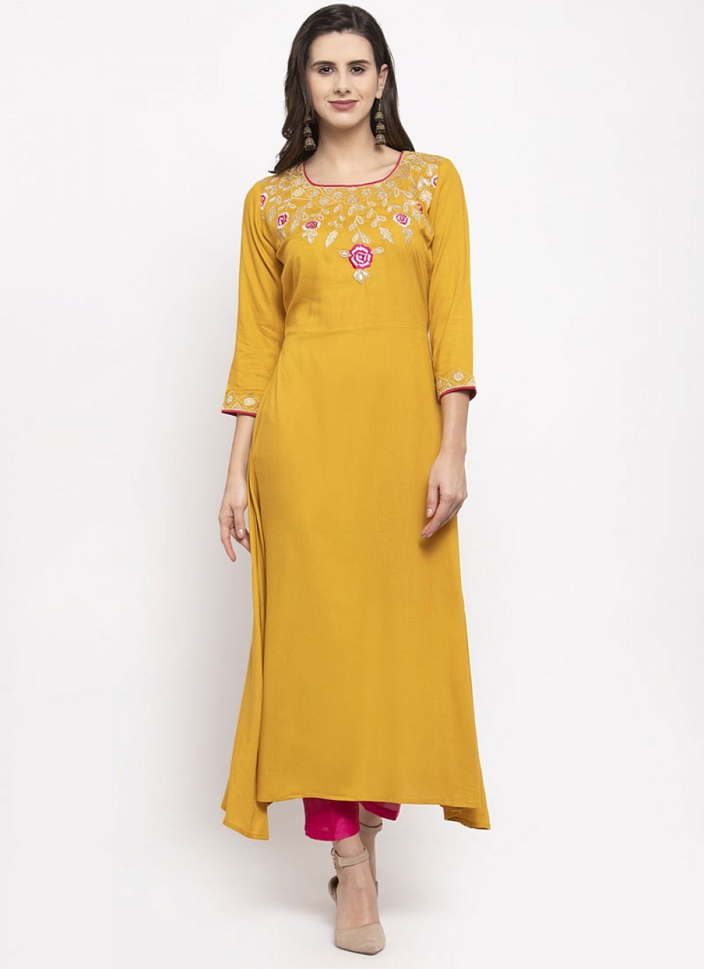 Embroidered Rayon Mustard Readymade Suit