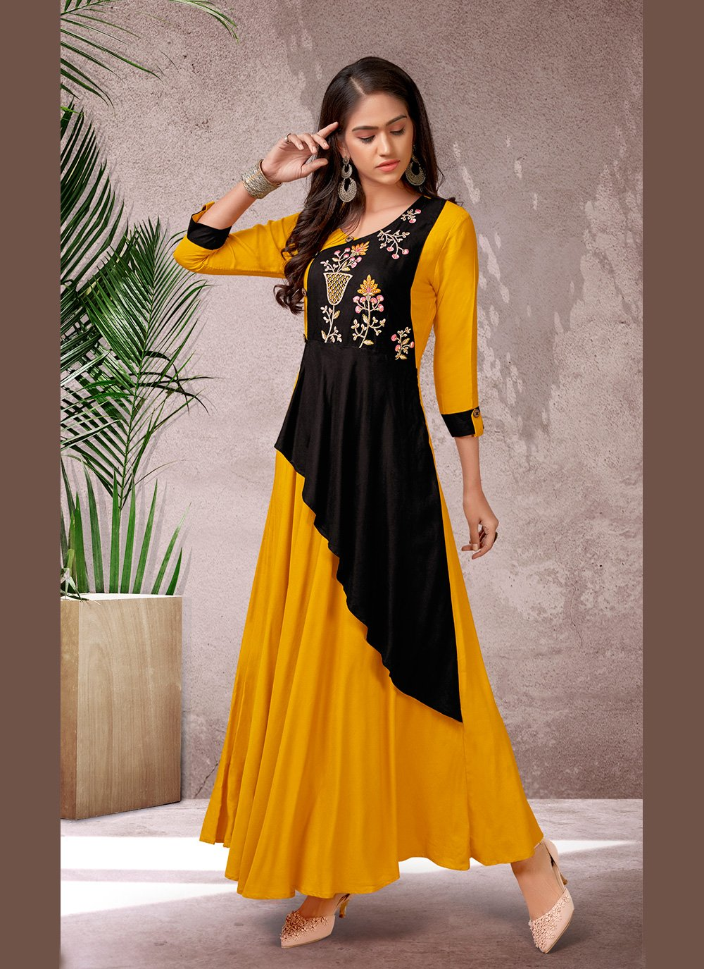Embroidered Rayon Yellow Designer Kurti
