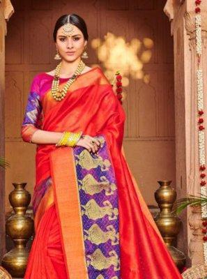 Embroidered Red Banarasi Silk Classic Saree