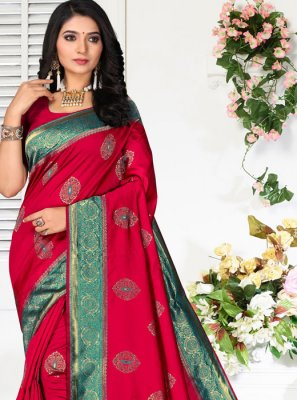 Embroidered Red Classic Saree