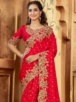 Embroidered Red Contemporary Saree