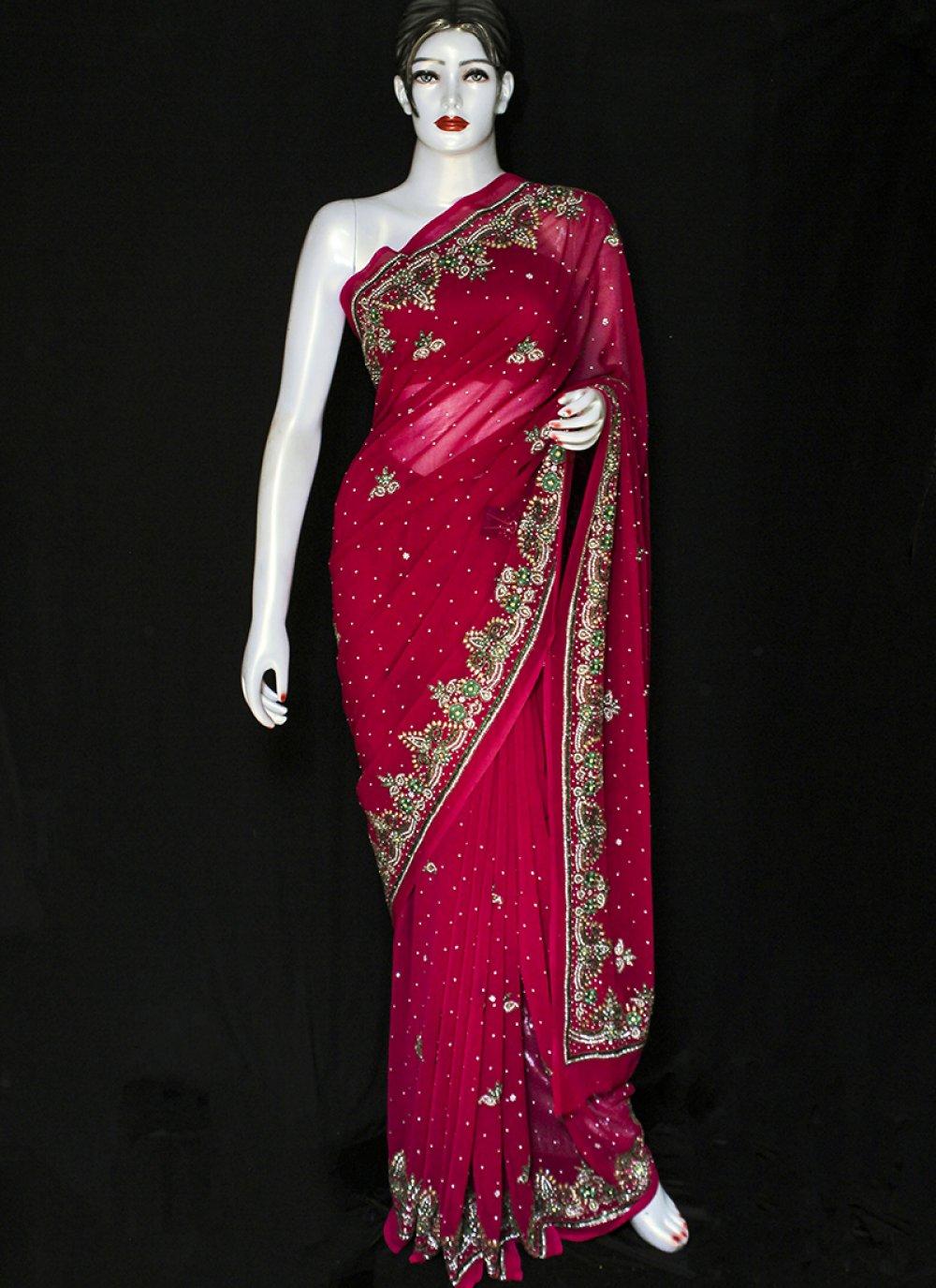 Embroidered Red Faux Chiffon Designer Saree