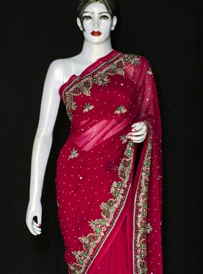 Embroidered Red Faux Chiffon Designer Saree