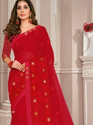 Embroidered Red Georgette Designer Saree