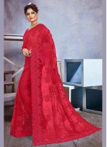 Embroidered Red Net Trendy Saree