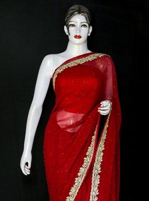 Embroidered Red Pure Chiffon Designer Saree
