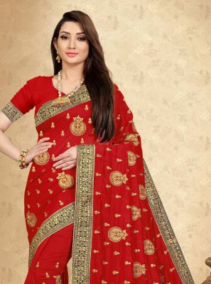 Embroidered Red Saree