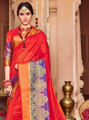 Embroidered Red Traditional Saree