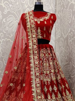 Embroidered Red Velvet Designer Lehenga Choli
