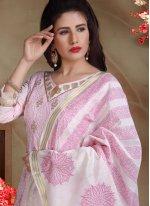 Embroidered Rose Pink Banarasi Silk Trendy Churidar Salwar Suit
