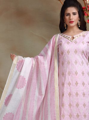Embroidered Rose Pink Banarasi Silk Trendy Churidar Salwar Suit