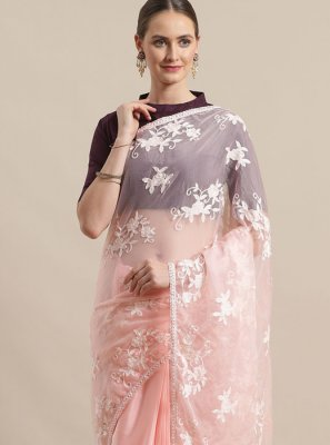Embroidered Rose Pink Organza Classic Saree