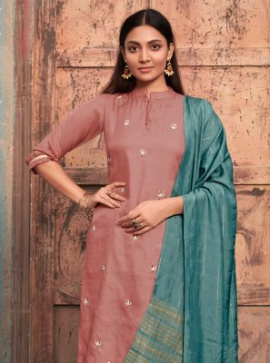 Embroidered Satin Casual Kurti