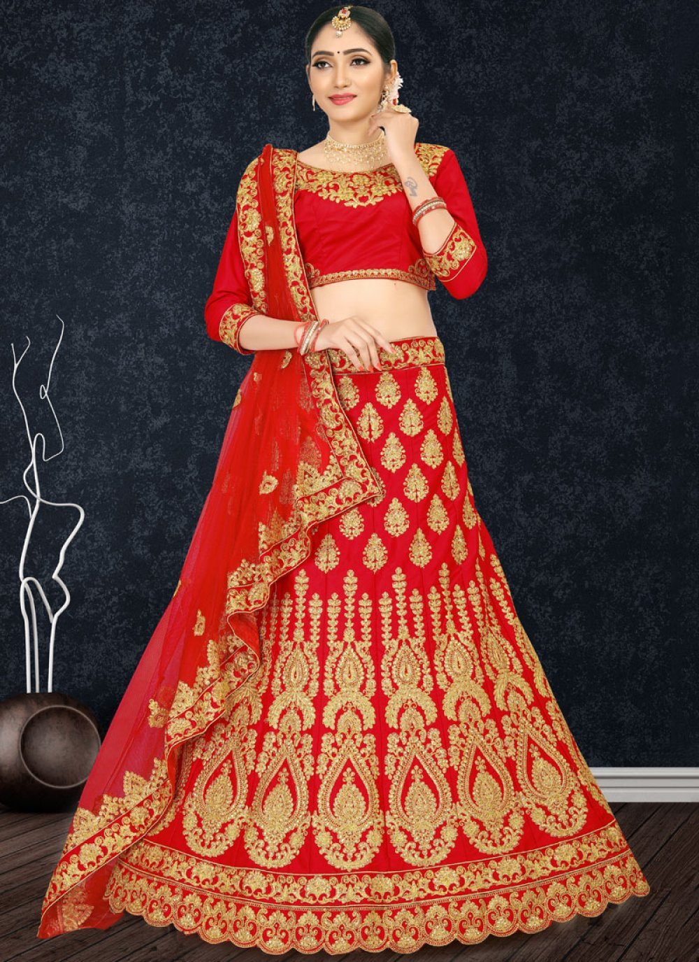 Embroidered Satin Designer Lehenga Choli in Red