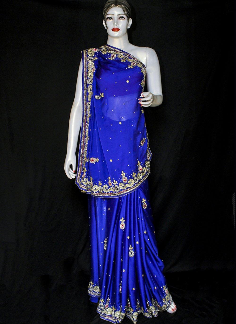 Embroidered Satin Designer Saree