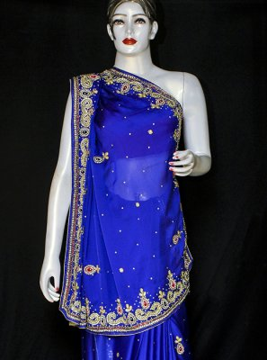Embroidered Satin Designer Saree