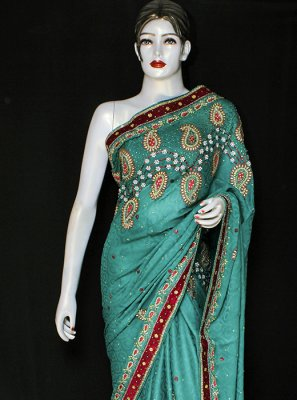 Embroidered Satin Designer Saree in Green