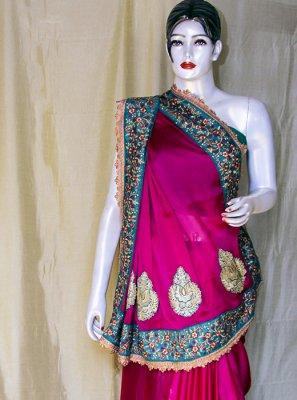 Embroidered Satin Designer Saree in Magenta