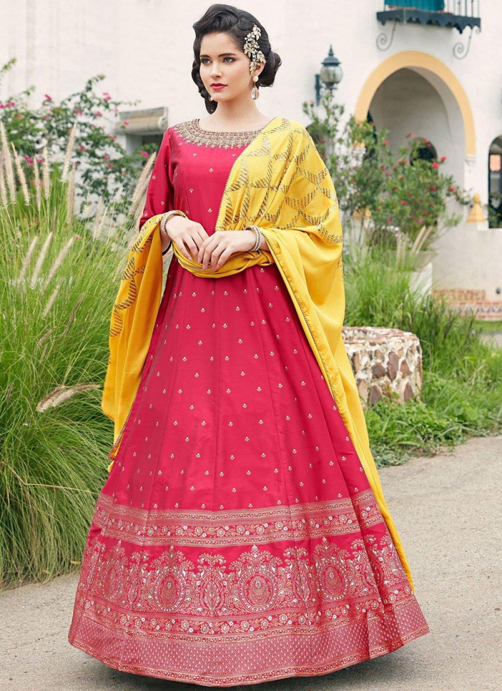 Embroidered Satin Hot Pink Floor Length Anarkali Suit
