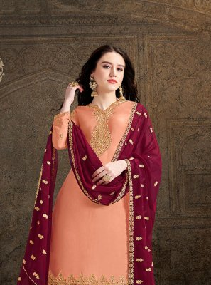 Embroidered Satin Peach Salwar Suit