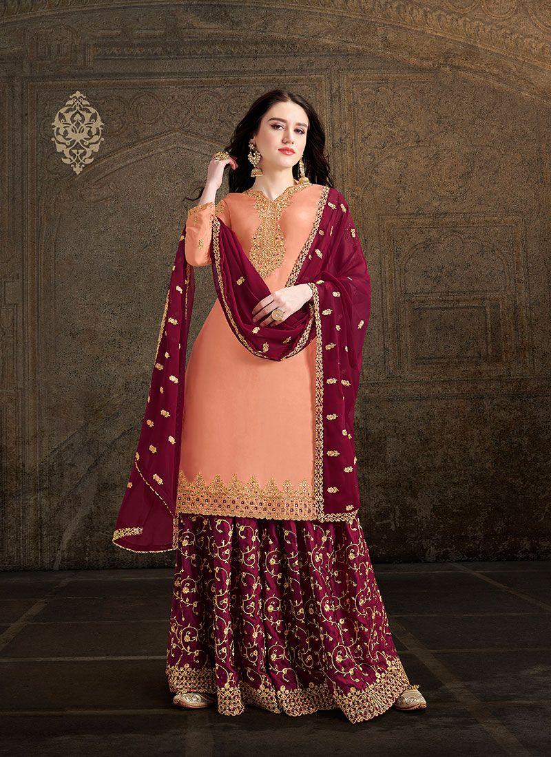 Embroidered Satin Peach Salwar Suit