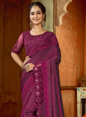 Embroidered Satin Pink Bollywood Saree