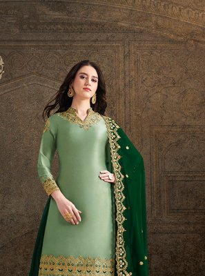 Embroidered Satin Salwar Suit