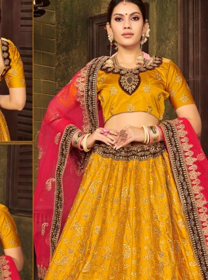 Embroidered Satin Silk A Line Lehenga Choli