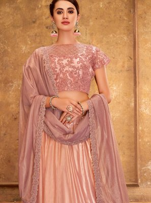 Embroidered Satin Silk Designer A Line Lehenga Choli
