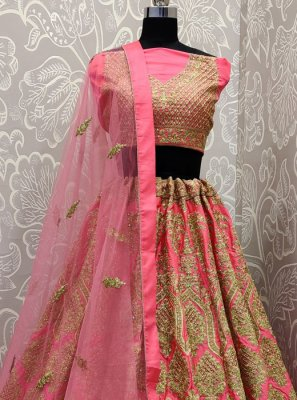 Embroidered Satin Silk Designer Lehenga Choli in Pink