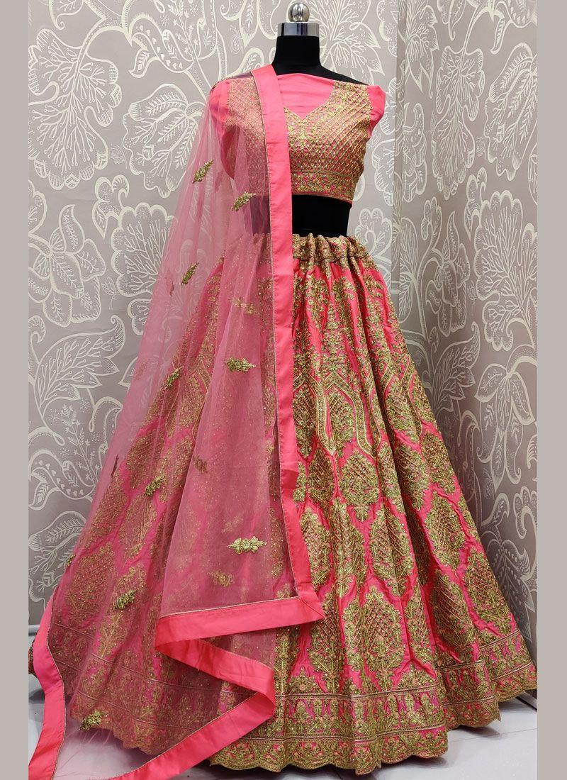 Embroidered Satin Silk Designer Lehenga Choli in Pink