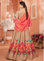 Embroidered Satin Silk Desinger Anarkali Salwar Suit in Brown