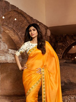 Embroidered Satin Silk Mustard Classic Designer Saree
